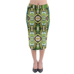 Bread Sticks And Fantasy Flowers In A Rainbow Midi Pencil Skirt