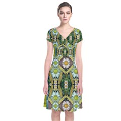 Bread Sticks And Fantasy Flowers In A Rainbow Short Sleeve Front Wrap Dress