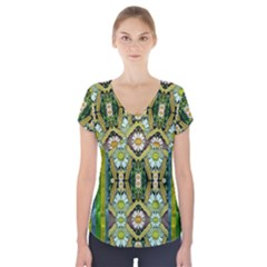 Bread Sticks And Fantasy Flowers In A Rainbow Short Sleeve Front Detail Top by pepitasart