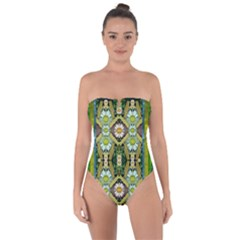 Bread Sticks And Fantasy Flowers In A Rainbow Tie Back One Piece Swimsuit