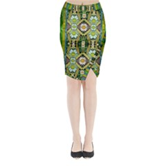 Bread Sticks And Fantasy Flowers In A Rainbow Midi Wrap Pencil Skirt