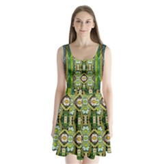 Bread Sticks And Fantasy Flowers In A Rainbow Split Back Mini Dress  by pepitasart