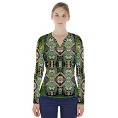 Bread Sticks And Fantasy Flowers In A Rainbow V-Neck Long Sleeve Top