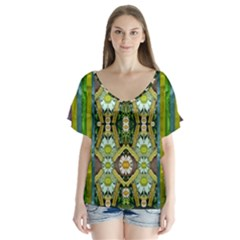 Bread Sticks And Fantasy Flowers In A Rainbow V-Neck Flutter Sleeve Top