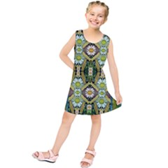 Bread Sticks And Fantasy Flowers In A Rainbow Kids  Tunic Dress