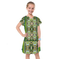 Bread Sticks And Fantasy Flowers In A Rainbow Kids  Drop Waist Dress