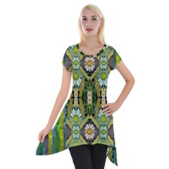 Bread Sticks And Fantasy Flowers In A Rainbow Short Sleeve Side Drop Tunic
