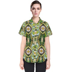 Bread Sticks And Fantasy Flowers In A Rainbow Women s Short Sleeve Shirt