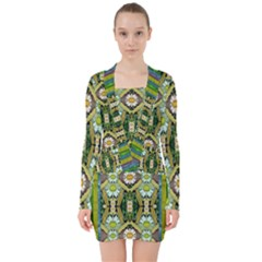 Bread Sticks And Fantasy Flowers In A Rainbow V-neck Bodycon Long Sleeve Dress