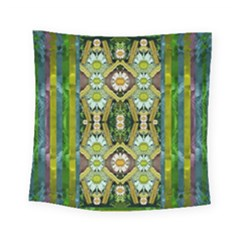 Bread Sticks And Fantasy Flowers In A Rainbow Square Tapestry (Small)