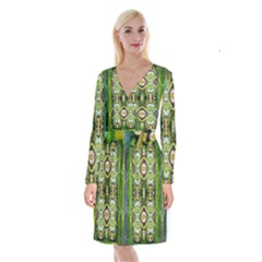 Bread Sticks And Fantasy Flowers In A Rainbow Long Sleeve Velvet Front Wrap Dress