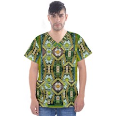 Bread Sticks And Fantasy Flowers In A Rainbow Men s V-Neck Scrub Top