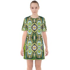 Bread Sticks And Fantasy Flowers In A Rainbow Sixties Short Sleeve Mini Dress