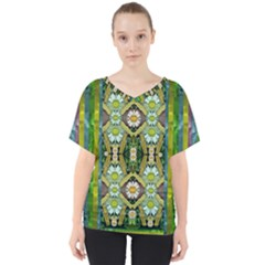 Bread Sticks And Fantasy Flowers In A Rainbow V-Neck Dolman Drape Top