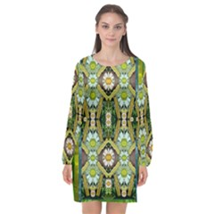 Bread Sticks And Fantasy Flowers In A Rainbow Long Sleeve Chiffon Shift Dress