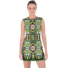 Bread Sticks And Fantasy Flowers In A Rainbow Lace Up Front Bodycon Dress