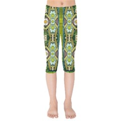 Bread Sticks And Fantasy Flowers In A Rainbow Kids  Capri Leggings