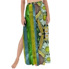 Bread Sticks And Fantasy Flowers In A Rainbow Maxi Chiffon Tie-Up Sarong