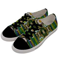 Bread Sticks And Fantasy Flowers In A Rainbow Men s Low Top Canvas Sneakers