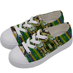Bread Sticks And Fantasy Flowers In A Rainbow Kids  Low Top Canvas Sneakers