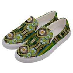 Bread Sticks And Fantasy Flowers In A Rainbow Men s Canvas Slip Ons