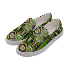 Bread Sticks And Fantasy Flowers In A Rainbow Women s Canvas Slip Ons