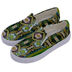 Bread Sticks And Fantasy Flowers In A Rainbow Kids  Canvas Slip Ons