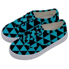 Triangle3 Black Marble & Turquoise Colored Pencil Kids  Classic Low Top Sneakers by trendistuff