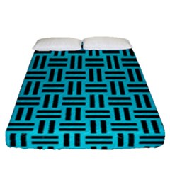 Woven1 Black Marble & Turquoise Colored Pencil Fitted Sheet (queen Size) by trendistuff