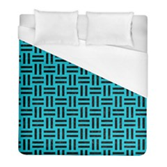 Woven1 Black Marble & Turquoise Colored Pencil Duvet Cover (full/ Double Size)