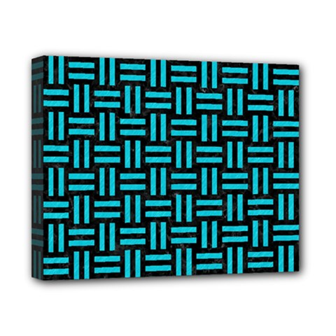 Woven1 Black Marble & Turquoise Colored Pencil (r) Canvas 10  X 8  by trendistuff