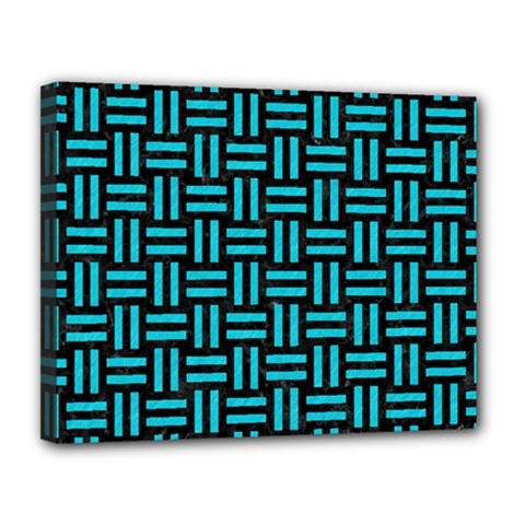 Woven1 Black Marble & Turquoise Colored Pencil (r) Canvas 14  X 11  by trendistuff