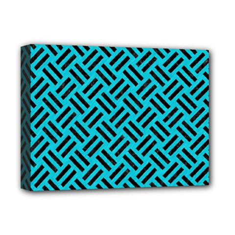 Woven2 Black Marble & Turquoise Colored Pencil Deluxe Canvas 16  X 12   by trendistuff
