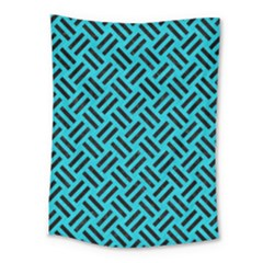 Woven2 Black Marble & Turquoise Colored Pencil Medium Tapestry