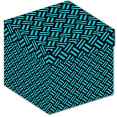 Woven2 Black Marble & Turquoise Colored Pencil (r) Storage Stool 12   by trendistuff
