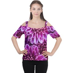 Purple Chrysanthemum Cold Shoulder Tee by LegendsofDarkness