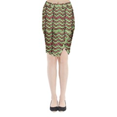 Zig Zag Multicolored Ethnic Pattern Midi Wrap Pencil Skirt by dflcprintsclothing