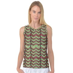 Zig Zag Multicolored Ethnic Pattern Women s Basketball Tank Top by dflcprintsclothing