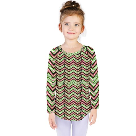 Zig Zag Multicolored Ethnic Pattern Kids  Long Sleeve Tee by dflcprintsclothing