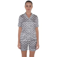Brick1 Black Marble & White Leather Satin Short Sleeve Pyjamas Set