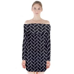 Brick2 Black Marble & White Leather (r) Long Sleeve Off Shoulder Dress