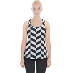 Chevron1 Black Marble & White Leather Piece Up Tank Top