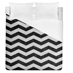 Chevron3 Black Marble & White Leather Duvet Cover (queen Size) by trendistuff