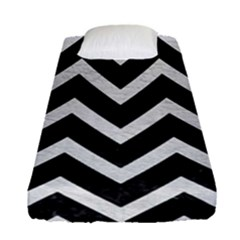 Chevron9 Black Marble & White Leather (r) Fitted Sheet (single Size) by trendistuff