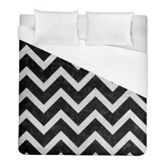 Chevron9 Black Marble & White Leather (r) Duvet Cover (full/ Double Size) by trendistuff