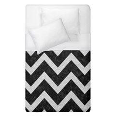 Chevron9 Black Marble & White Leather (r) Duvet Cover (single Size) by trendistuff