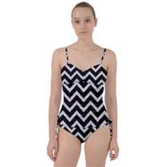 Chevron9 Black Marble & White Leather (r) Sweetheart Tankini Set