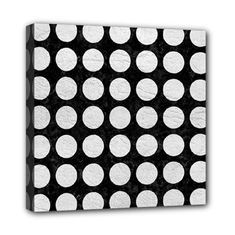 Circles1 Black Marble & White Leather (r) Mini Canvas 8  X 8  by trendistuff