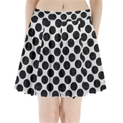 Circles2 Black Marble & White Leather Pleated Mini Skirt