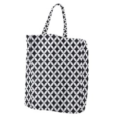 Circles3 Black Marble & White Leather (r) Giant Grocery Zipper Tote by trendistuff